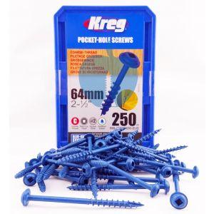 250 SCREWS 2 1/2 Inch Kreg Blue Kote SML-C250B Washer Heads 64mm