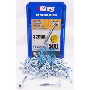 500 SCREWS 1 1/4 Inch KREG 32mm Fine Thread Washer Heads SML-F125