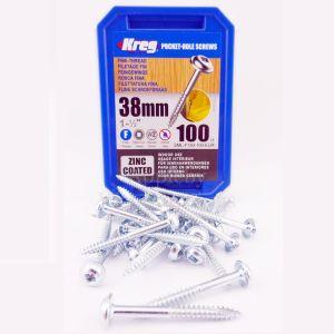 100 KREG Screws SML-F150 - 1 1/2 Inch 38mm Fine Thread Washer Head