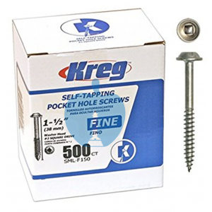 500 KREG Screws SML-F150 - 1 1/2 Inch 38mm Fine Thread Washer Head