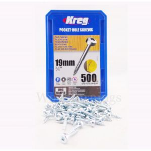 500 SCREWS 3/4 Inch KREG 19mm Fine Thread Pan Heads SPS-F0.75
