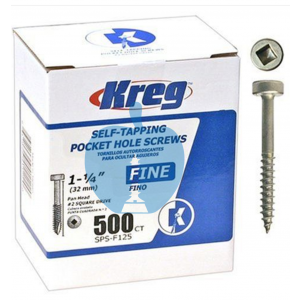 500 SCREWS 1 1/4 Inch KREG 32mm Fine Thread Pan Heads SPS-F125
