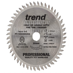 160mm Z=48 Id=20 TREND Industrial Hand Held / Portable Saw Blade To Fit Festool CSP55