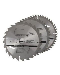 3 pack 200mm Silverline TCT Circular Saw Blades 749249