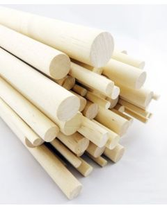 100 pcs 3/8 Dia Birch Hardwood Dowel Rods 36 Inches (9.52 x 914mm) Long Imperial Size