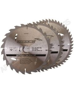 3 Pack 210mm Silverline TCT Circular Saw Blades Id=30mm 690459