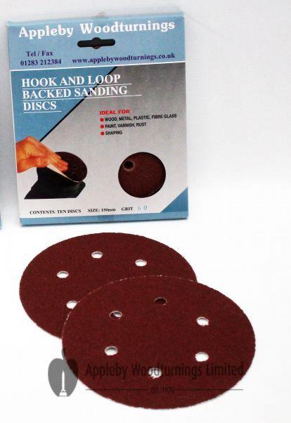 150mm Circular Sanding Discs 'Hook & Loop' backed Various Grit Sizes - 20 pack