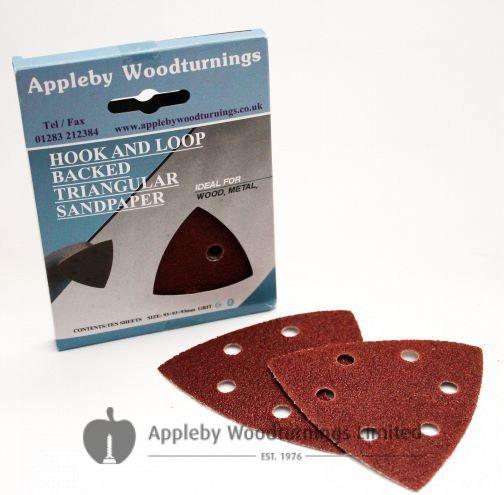 90mm Triangular Sanding Pads 'Hook & Loop' Backed - 20 pack - 120 & 240 Grit