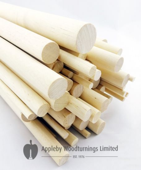 """100 pcs 1/4"""" Dia Birch Hardwood Dowel Rods 12 Inches (6.35 x 300mm) Long Imperial Size"""