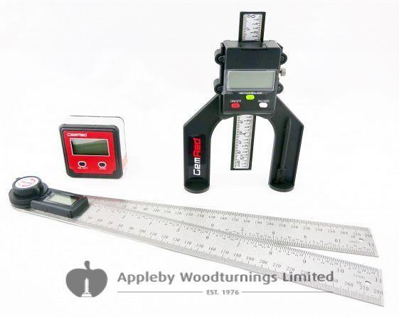 280mm Digital Angle Finder Rule, Bevel Box & Depth Gauge GEMRED BUNDLE