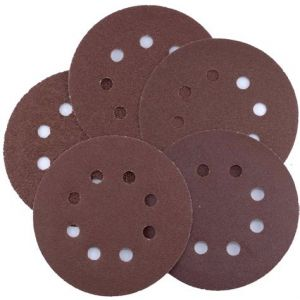 125mm Circular Sanding Discs 'Hook & Loop' backed Various Grit Sizes - 10 pack