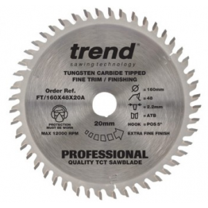 160mm Z=48 Id=20 TREND Industrial Hand Held / Portable Saw Blade To Fit Festool AP55