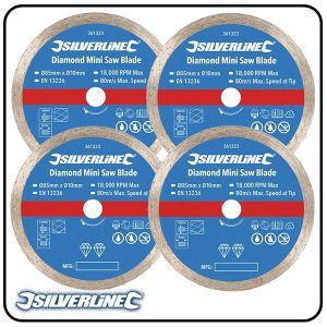85mm Continuous Rim Diamond Mini Saw Blade to suit Silverline, Titan & Worx mini saws - 3 pack