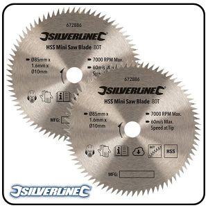 85mm HSS Circular Saw Blade, 10mm Bore, Z=80 - 2 pack