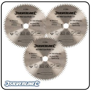 85mm HSS Circular Saw Blade, 10mm Bore, Z=80 to suit Silverline, Titan & Worx mini saws - 2 pack