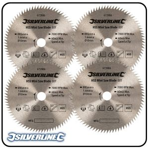 85mm HSS Circular Saw Blade, 10mm Bore, Z=80 to suit Silverline, Titan & Worx mini saws - 3 pack