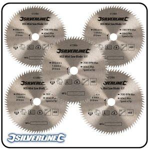 85mm HSS Circular Saw Blade, 10mm Bore, Z=80 to suit Silverline, Titan & Worx mini saws - 4 pack