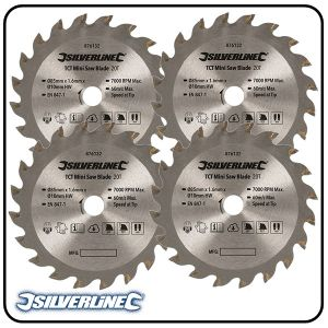 85mm TCT Circular Saw Blade, 10mm Bore, Z=20 to suit Silverline, Titan & Worx mini saws - 3 pack