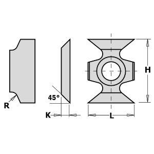 16mm Hook Tip Reversible Grooving Knives Radius 2mm 1 Tip to suit CMT 790.162.00