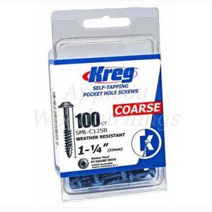 100 SCREWS 1 1/4 Inch KREG Blue Kote Washer Head SML-C125B 32mm