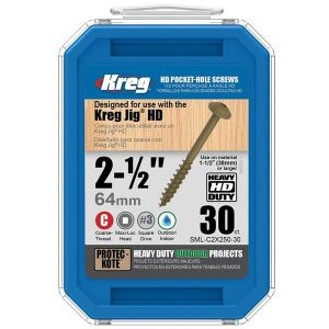 "Kreg SML-C2X250-30 2 1/2"" (64mm) Protec Kote #14 Kreg Jig HD Pocket-Hole Screws 30pcs"