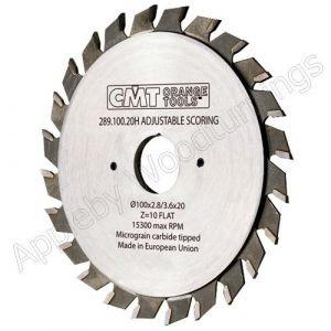 120mm Z=12+12 Id=20 CMT Adjustable Split Scoring Saw Blade 289.120.24H