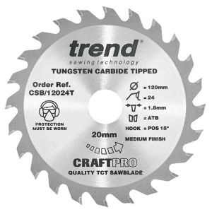 Trend 120mm dia 20mm Bore ATB Z=24 TCT Saw Blade for Portable Saws CSB/12024T