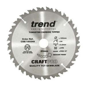Trend 160mm dia 20mm Bore ATB Z=24 TCT Table / Rip Saw Blade CSB/16024A
