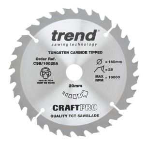 Trend 160mm dia 20mm Bore ATB Z=28 TCT Table / Rip Saw Blade CSB/16028A