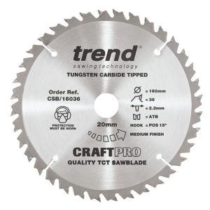 Trend 160mm dia 20mm Bore ATB Z=36 TCT Table / Rip Saw Blade CSB/16036