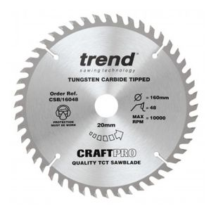 Trend Craft Pro 160mm dia 20mm bore 48 tooth fine finish cut saw blade