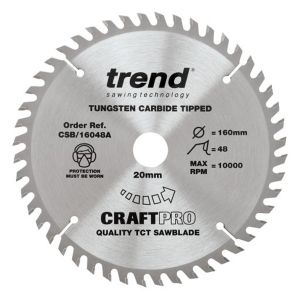 Trend 160mm dia 20mm Bore ATB Z=48 TCT Fine Finish Cut Saw Blade CSB/16048A