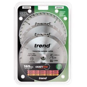Trend 165mm dia 20mm Bore ATB Z=24 & 40 TCT Saw Blade Triple Pack CSB/165/3PK/C