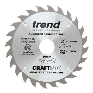 Trend 165mm dia 30mm Bore ATB Z=24 TCT Table / Rip Saw Blade CSB/16524