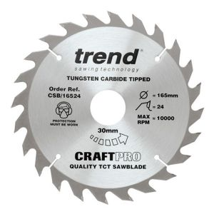 Trend 170mm dia 16mm Bore ATB Z=24 TCT Table / Rip Saw Blade CSB/17024