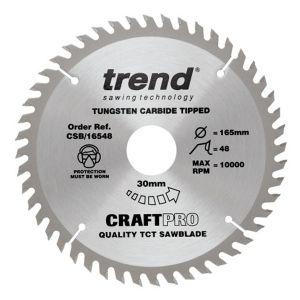 Trend 165mm dia 30mm Bore ATB Z=48 TCT Table / Rip Saw Blade CSB/16548
