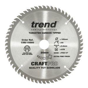 Trend 165mm dia 20mm Bore ATB Z=60 TCT Table / Rip Saw Blade CSB/16560