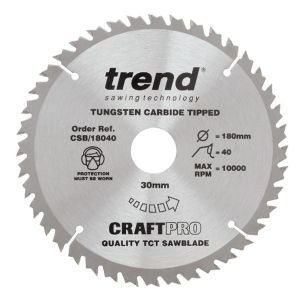 Trend 180mm dia 30mm Bore ATB Z=40 TCT Table / Rip Saw Blade CSB/18040