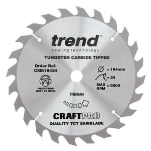Trend 184mm dia 16mm Bore ATB Z=24 TCT Table / Rip Saw Blade CSB/18424