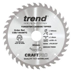 Trend 190mm dia 30mm Bore ATB Z=36 TCT Saw Blade for DeWalt DCS575 CSB/19036TC