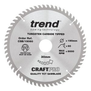 Trend 190mm dia 30mm Bore ATB Z=60 TCT Table / Rip Saw Blade CSB/19060