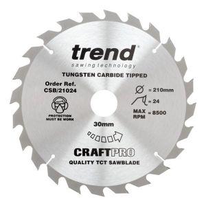 Trend 210mm dia 30mm Bore ATB Z=24 TCT Table / Rip Saw Blade CSB/21024