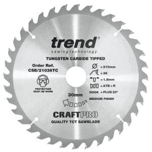Trend 210mm dia 30mm Bore ATB Z=36 TCT Saw Blade for DeWalt DCS7485 CSB/21036TC