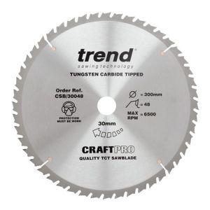 Trend 300mm dia 30mm Bore ATB Z=48 TCT Table / Rip Saw Blade CSB/30048