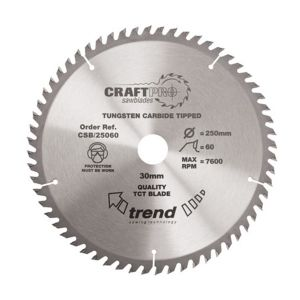 Trend 350mm dia 30mm Bore ATB Z=64 TCT Table / Rip Saw Blade CSB/35064