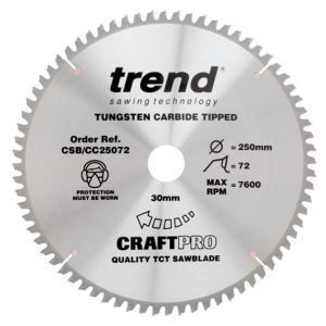 Trend 250mm dia 30mm Bore ATB Z=72 Negative Crosscut Saw Blade CSB/CC25072