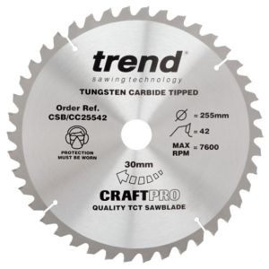 Trend 255mm dia 30mm Bore ATB Z=42 Negative Crosscut Saw Blade CSB/CC25542