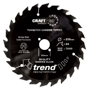 Trend 190mm dia 30mm Bore ATB Z=40 TCT Non-stick PTFE Coat Saw Blade CSB/TC19040
