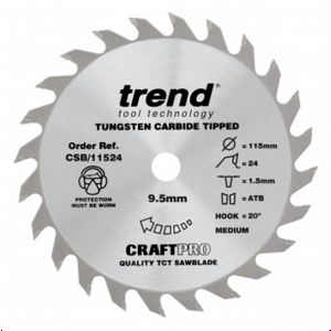 Trend Craft Pro 115mm dia 9.5mm bore 24 tooth extra fine finish cut saw blade