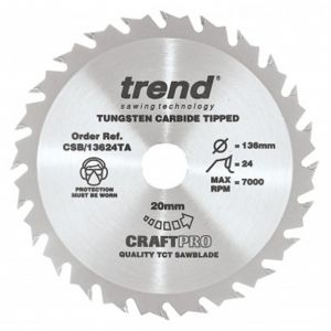 136mm Z=24 Id=20 Trend Craftpro Combination Saw Blade Thin Kerf